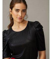 amaro feminino blusa brilhos manga franzida, preto