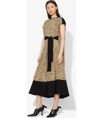 proenza schouler inky leopard print short sleeve combo cape dress black/sage inky leopard/green 4