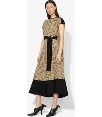 proenza schouler inky leopard print short sleeve combo cape dress black/sage inky leopard/green 8