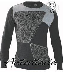 sweater diseño geometrico para hombre casual autoritaria sa13 - gris