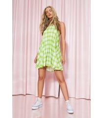 gingham swing jurk met halter neck, green