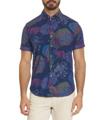 robert graham men's shultz tailored-fit short-sleeve printed sport shirt - indigo - size xl