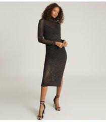 reiss antonella - open-knit bodycon dress in black, womens, size xl