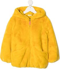 billieblush short faux-fur coat - yellow