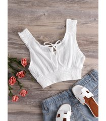 white smocking lace-up design sleeveless crop top