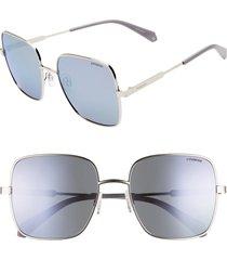 women's polaroid 57mm polarized square sunglasses - lilac/ silver