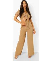 linnen jumpsuit met uitsnijding en strik, camel