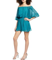 women's endless rose off the shoulder ruffle sleeve romper, size large - blue