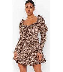 luipaardprint skater jurk met geplooide bodice, brown
