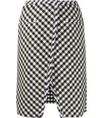 courrèges plaid front-slit skirt - black