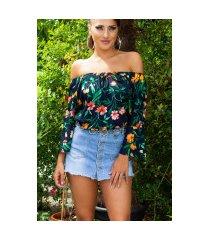 sexy off shoulder blouse met bloemen-print marineblauw