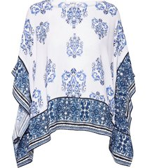 blus andes blouses short-sleeved blauw desigual