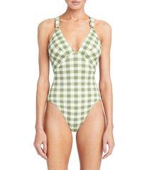 women's robin piccone emma v-neck one-piece swimsuit, size 6 - green