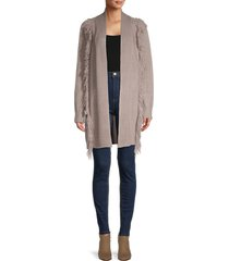 heroes & dreamers women's fringe-trim cardigan - taupe - size xl