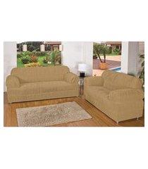 kit capa protetora sofá 3 e 2 lug 21 elásticos malha gel avela