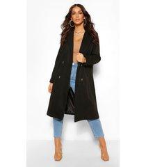 nepwollen boyfriend jas met dubbele knopen, zwart