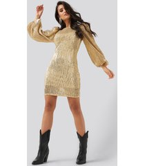 na-kd party puff sleeve sequin mini dress - gold