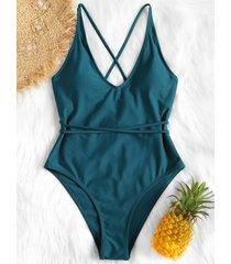 crisscross high leg one-piece swimwear