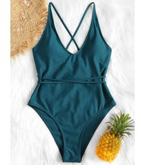 crisscross high leg one-piece swimwear