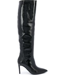 paul warmer knee length high-heel boots - black