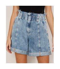 short clochard jeans marmorizado com barra dobrada cintura super alta azul claro