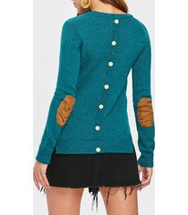 stylish elbow spliced back buttoned pullover sweater for women