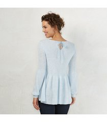 lc lauren conrad v-neck peplum sweater in light blue sizes xs- s- m-l-xl-xxl new
