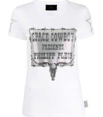 philipp plein space cowboy print t-shirt - white