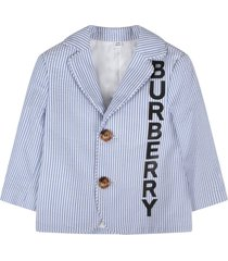 burberry white and light blue jacket for baby boy with logo