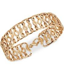 openwork fancy link chain bracelet in 14k gold