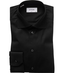 eton overhemd dress zwart effen slim