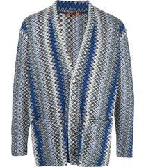 barena zigzag patterned cardigan - blue