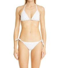 women's fendi fendirama ff logo two-piece swimsuit, size 10 us - white