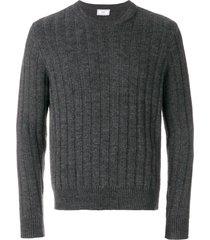 ami flat ribbed crew neck sweater - grey