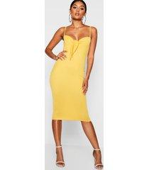 skinny strap tie front midi dress, mustard