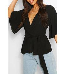blouse met franjes mouwen, zwart