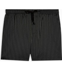 mens black stripe woven pull on shorts