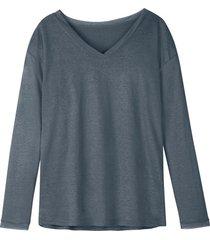 luchtig linnen-jersey shirt met v-hals, rookblauw 36/38