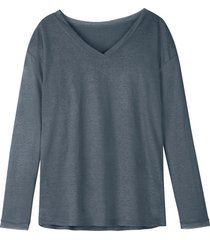 luchtig linnen-jersey shirt met v-hals, rookb 40/42