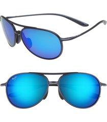 men's maui jim alelele 60mm aviator sunglasses - matte blue/blue hawaii