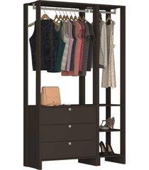 guarda roupa closet 2 peã§as 2 cabideiros preto - cinza - dafiti