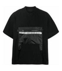 niløs camiseta oversized com zíper no bolso - preto