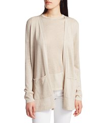 saks fifth avenue women's collection plaited shine open-front cardigan - champagne - size xl