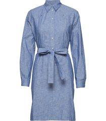 chambray belted tuni jurk knielengte blauw calvin klein