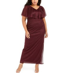 connected plus size v-neck overlay dress