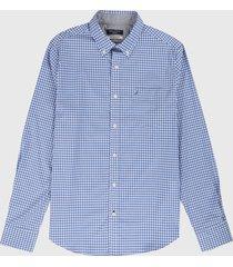 camisa azul-blanco nautica