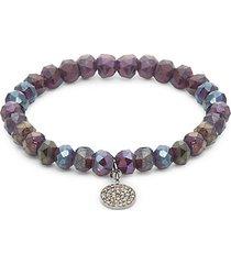 sterling silver, semi-precious & diamond bead bracelet