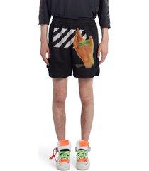 men's off-white hand logo mesh shorts, size small - black