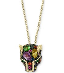 "effy multi-gemstone cat's head 18"" pendant necklace (7/8 ct. t.w.) pendant necklace in 14k gold"