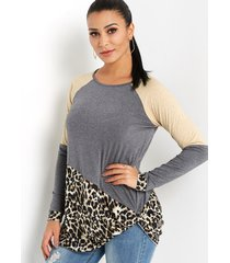 grey leopard stitching round neck long sleeves knot hem t-shirt